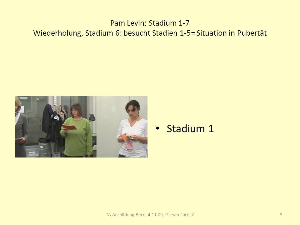 Pam Levin: Stadium 1-7 Wiederholung, Stadium 6: besucht Stadien 1-5= Situation in Pubertät Stadium 1 8TA Ausbildung Bern, 4.11.09, P.Levin Forts.2