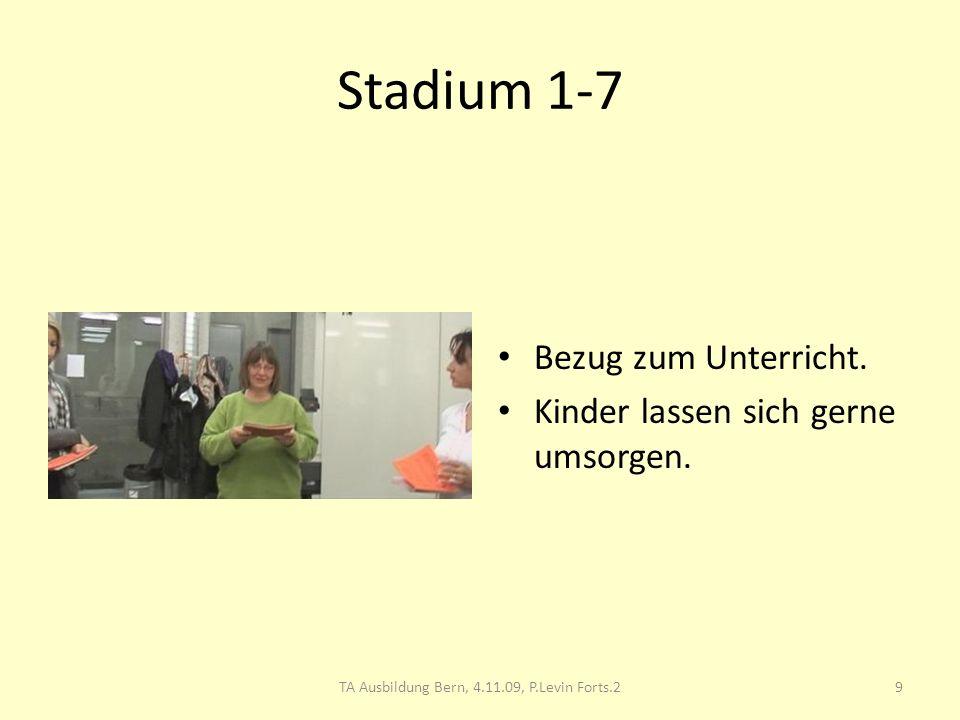 Stadium 1-7 Bezug zum Unterricht. Kinder lassen sich gerne umsorgen. 9TA Ausbildung Bern, 4.11.09, P.Levin Forts.2