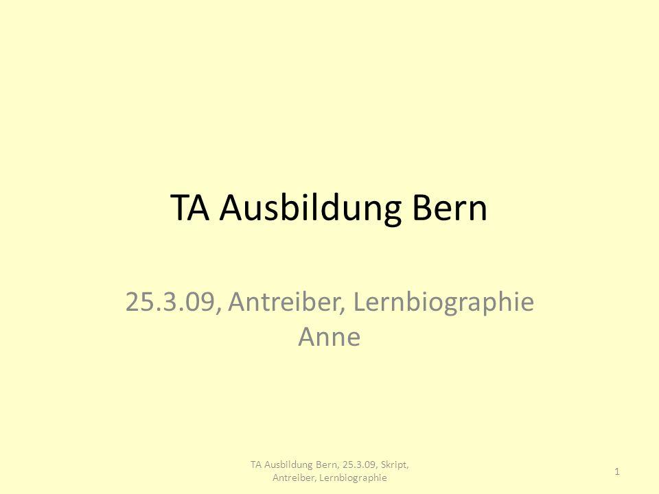 TA Ausbildung Bern 25.3.09, Antreiber, Lernbiographie Anne 1 TA Ausbildung Bern, 25.3.09, Skript, Antreiber, Lernbiographie