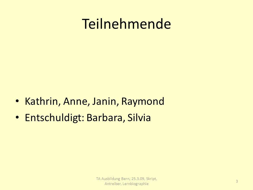 Teilnehmende Kathrin, Anne, Janin, Raymond Entschuldigt: Barbara, Silvia TA Ausbildung Bern, 25.3.09, Skript, Antreiber, Lernbiographie 3