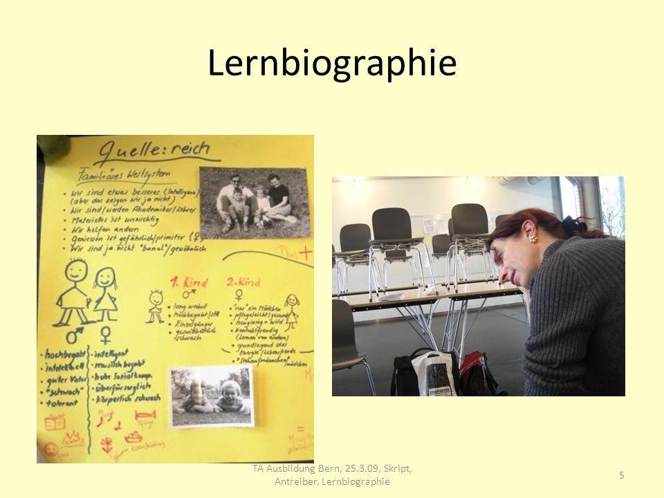 Lernbiographie Lebensfluss 6 TA Ausbildung Bern, 25.3.09, Skript, Antreiber, Lernbiographie