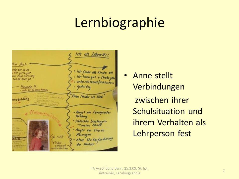 Lernbiographie 8 TA Ausbildung Bern, 25.3.09, Skript, Antreiber, Lernbiographie