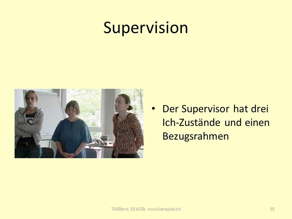 Supervision Der Supervisor hat drei Ich-Zustände und einen Bezugsrahmen 10TA5Bern, 10.6.09, www.hansjoss.ch