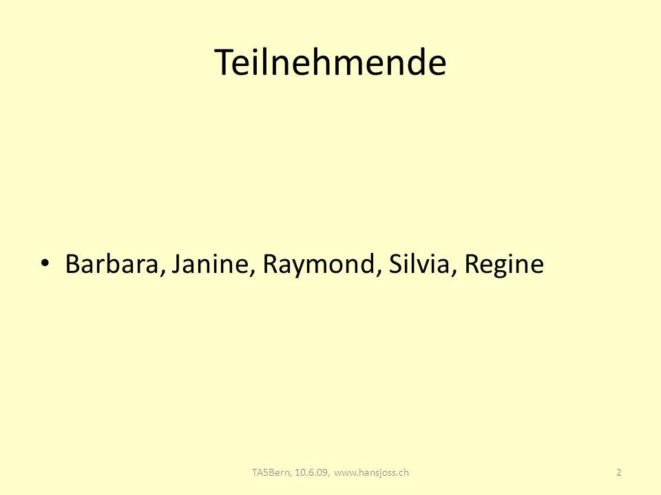 Teilnehmende Barbara, Janine, Raymond, Silvia, Regine 2TA5Bern, 10.6.09, www.hansjoss.ch