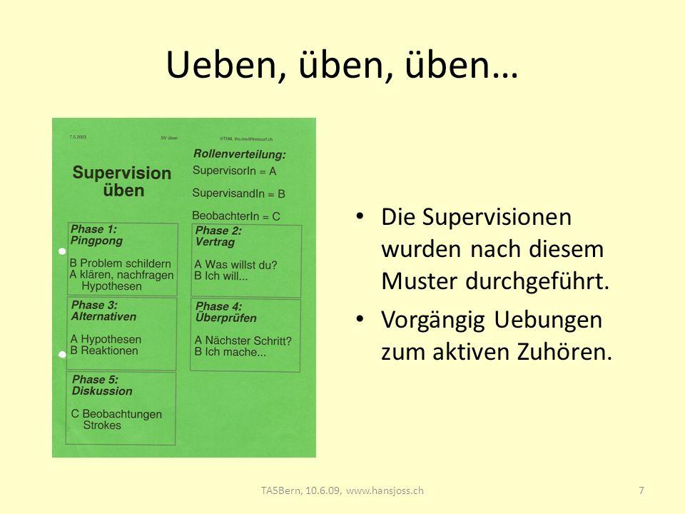 Ueben, üben, üben… Die Supervisionen wurden nach diesem Muster durchgeführt. Vorgängig Uebungen zum aktiven Zuhören. 7TA5Bern, 10.6.09, www.hansjoss.c