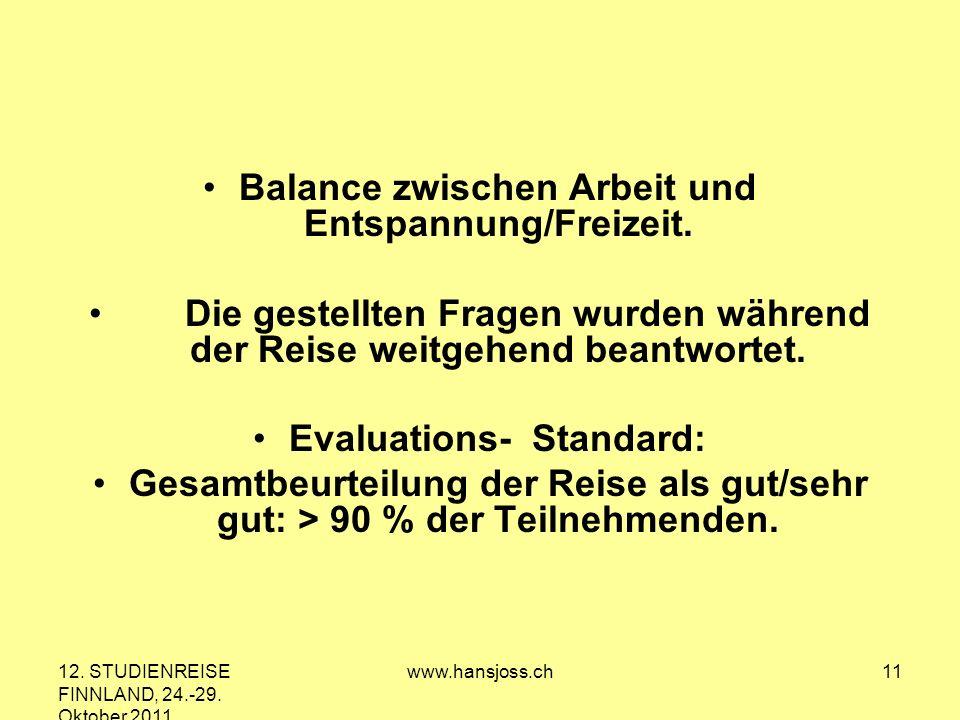 12. STUDIENREISE FINNLAND, 24.-29. Oktober 2011 www.hansjoss.ch11 Balance zwischen Arbeit und Entspannung/Freizeit. Die gestellten Fragen wurden währe