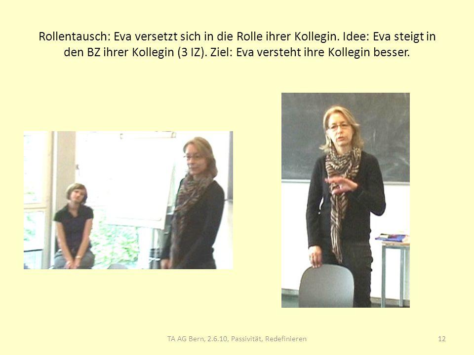 Rollentausch: Eva versetzt sich in die Rolle ihrer Kollegin. Idee: Eva steigt in den BZ ihrer Kollegin (3 IZ). Ziel: Eva versteht ihre Kollegin besser