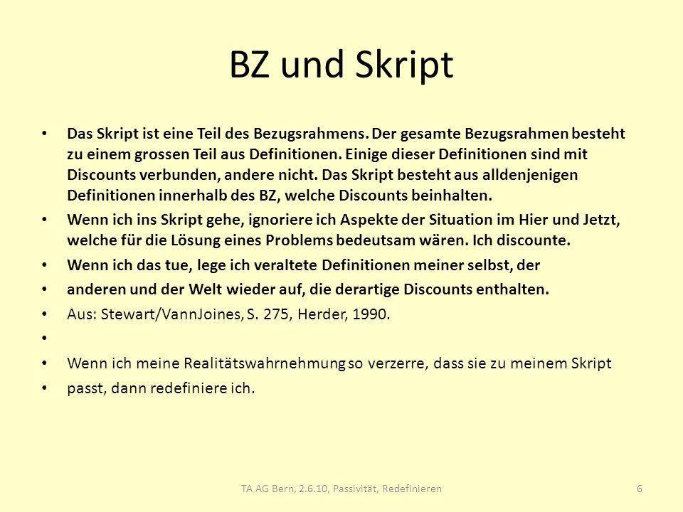 BZ und Skript Das Skript ist eine Teil des Bezugsrahmens. Der gesamte Bezugsrahmen besteht zu einem grossen Teil aus Definitionen. Einige dieser Defin