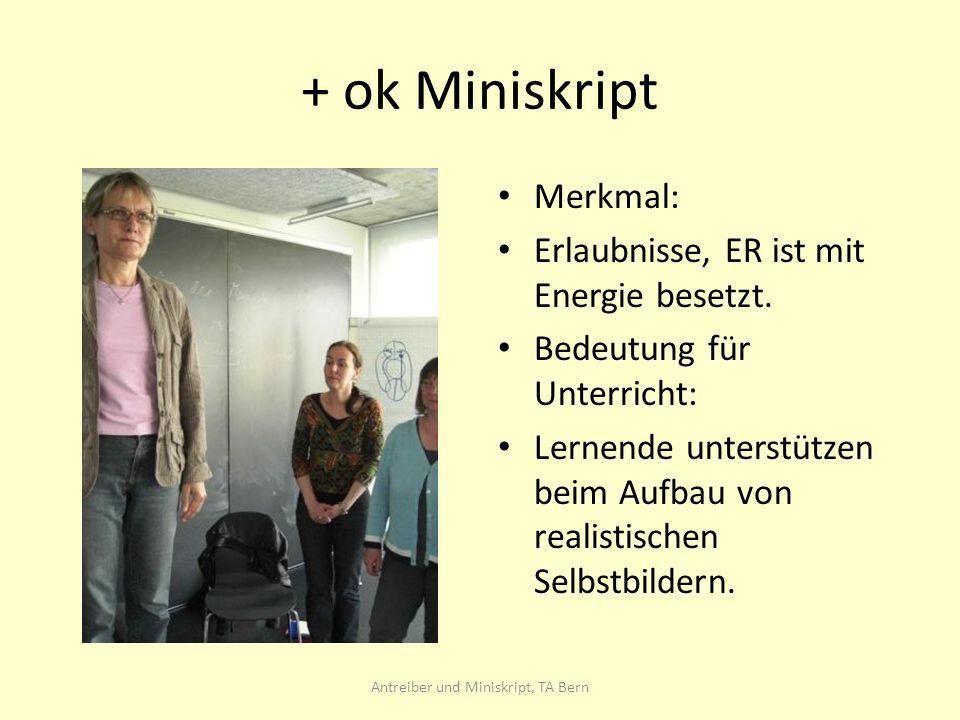 + ok Miniskript Merkmal: Erlaubnisse, ER ist mit Energie besetzt.