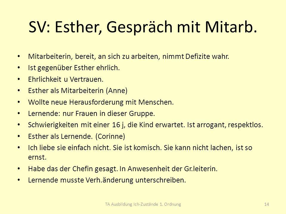 SV: Esther, Gespräch mit Mitarb. Mitarbeiterin, bereit, an sich zu arbeiten, nimmt Defizite wahr. Ist gegenüber Esther ehrlich. Ehrlichkeit u Vertraue