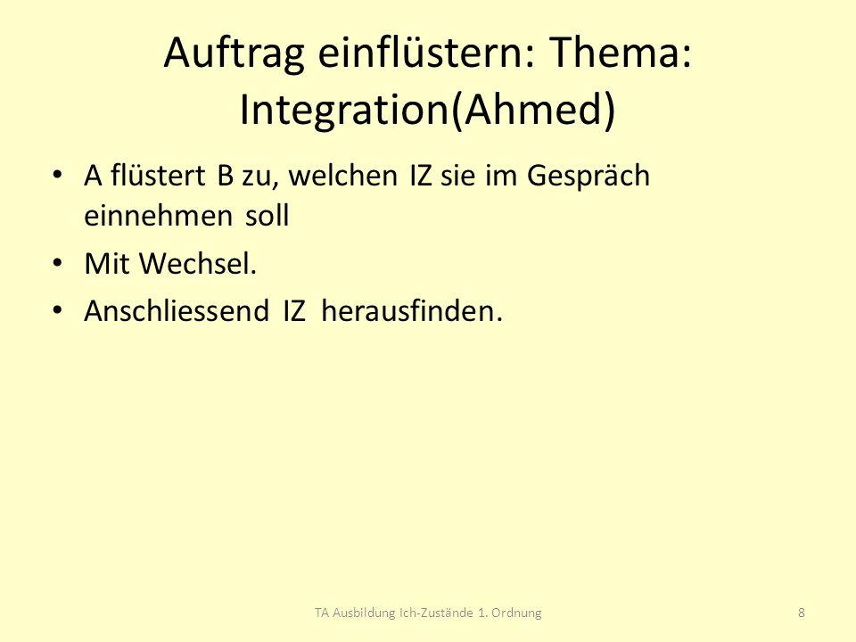 Auftrag einflüstern: Thema: Integration(Ahmed) A flüstert B zu, welchen IZ sie im Gespräch einnehmen soll Mit Wechsel. Anschliessend IZ herausfinden.