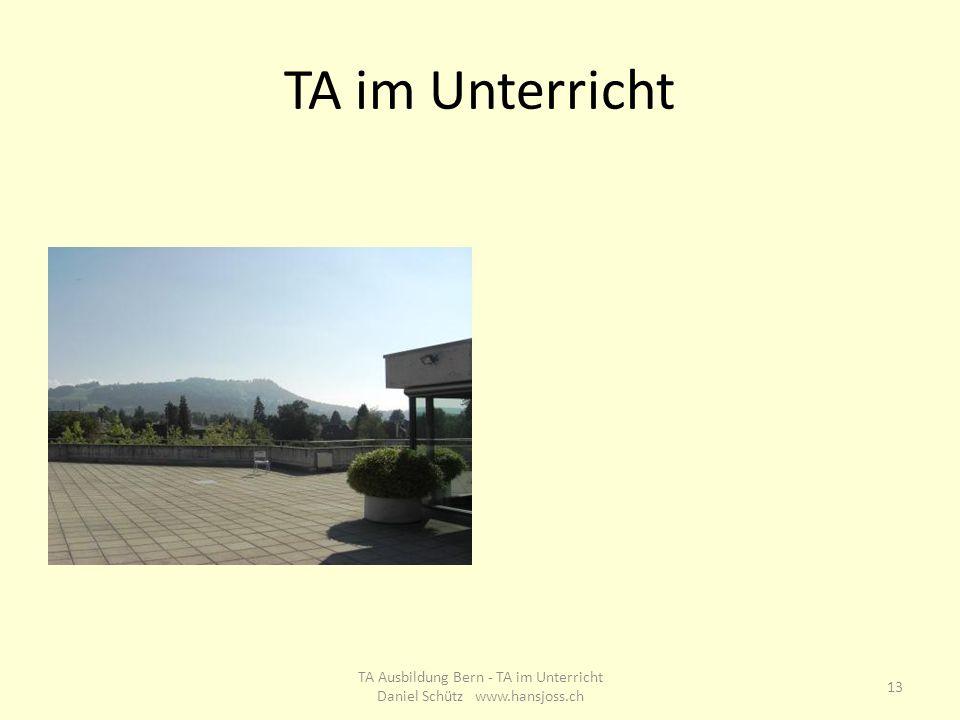 TA im Unterricht 13 TA Ausbildung Bern - TA im Unterricht Daniel Schütz www.hansjoss.ch