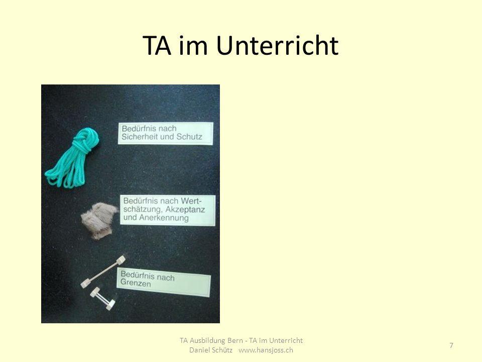 TA im Unterricht 7 TA Ausbildung Bern - TA im Unterricht Daniel Schütz www.hansjoss.ch