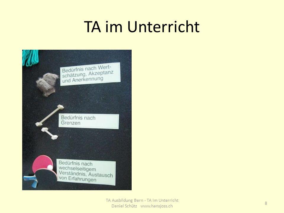 TA im Unterricht 8 TA Ausbildung Bern - TA im Unterricht Daniel Schütz www.hansjoss.ch