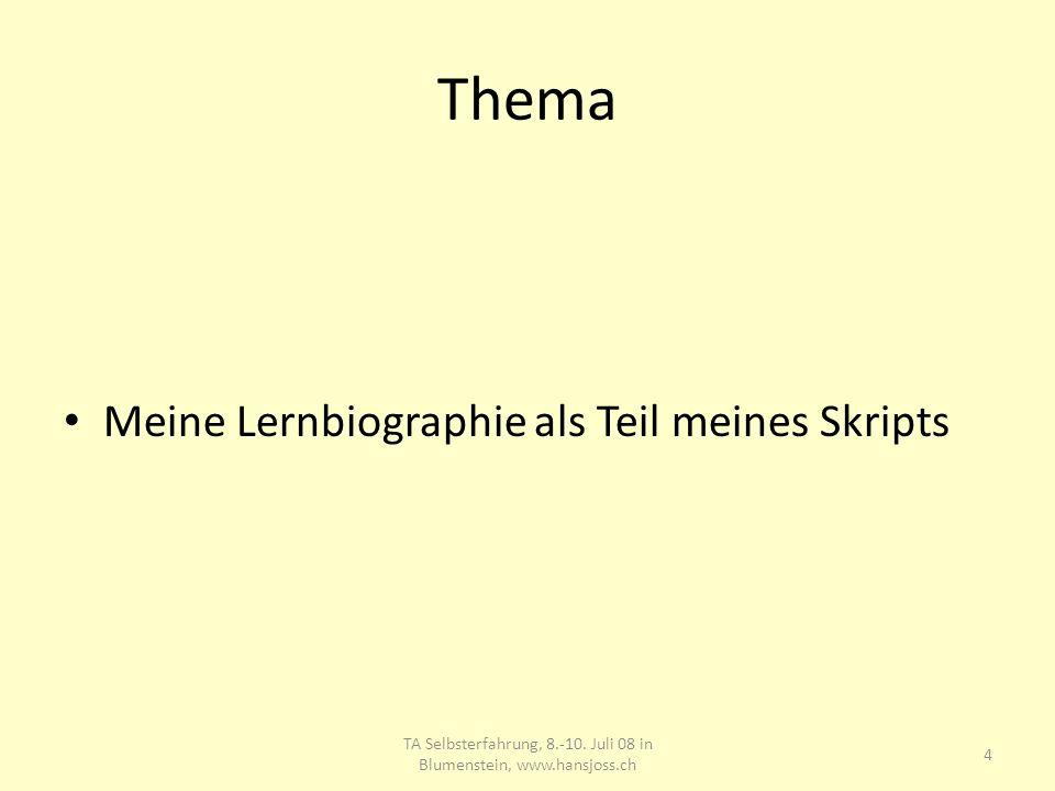 Thema Meine Lernbiographie als Teil meines Skripts 4 TA Selbsterfahrung, 8.-10. Juli 08 in Blumenstein, www.hansjoss.ch