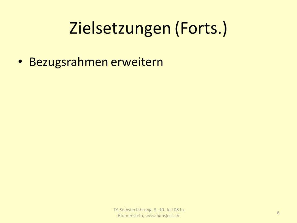 Zielsetzungen (Forts.) Bezugsrahmen erweitern TA Selbsterfahrung, 8.-10. Juli 08 in Blumenstein, www.hansjoss.ch 6