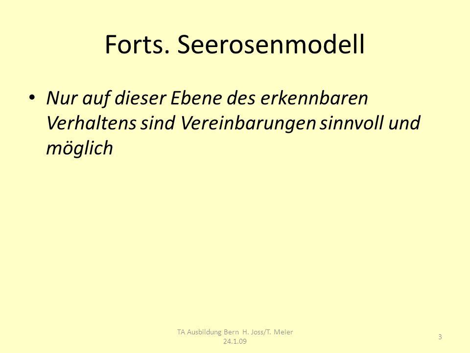 Forts. Seerosenmodell Nur auf dieser Ebene des erkennbaren Verhaltens sind Vereinbarungen sinnvoll und möglich 3 TA Ausbildung Bern H. Joss/T. Meier 2