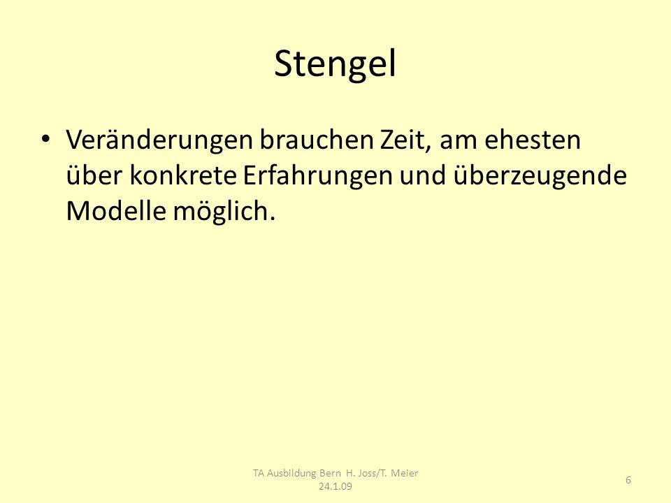 Stengel Veränderungen brauchen Zeit, am ehesten über konkrete Erfahrungen und überzeugende Modelle möglich. 6 TA Ausbildung Bern H. Joss/T. Meier 24.1