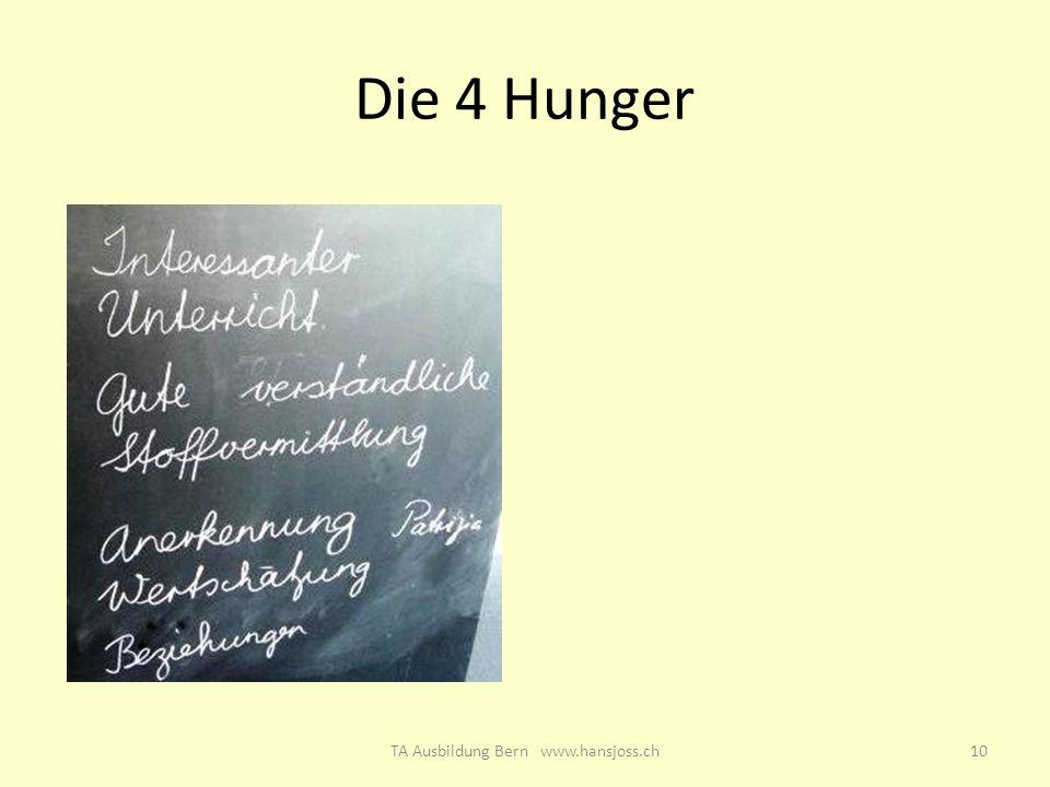 Die 4 Hunger 10TA Ausbildung Bern www.hansjoss.ch