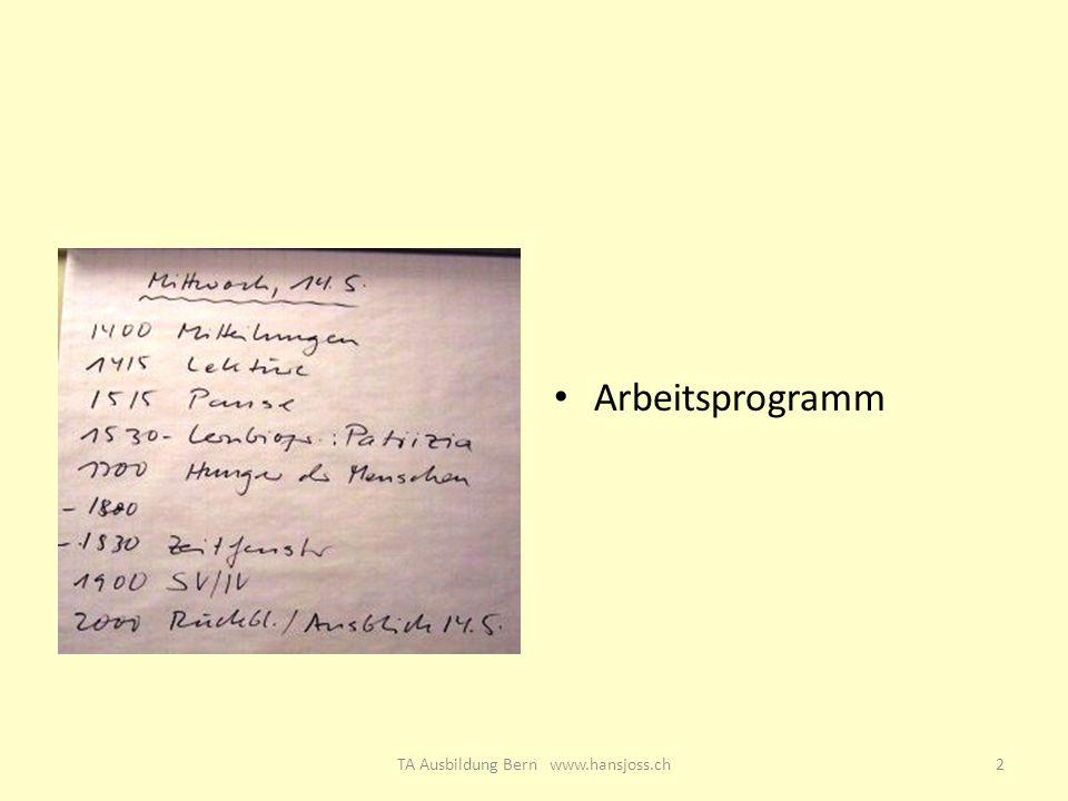 Arbeitsprogramm 2TA Ausbildung Bern www.hansjoss.ch