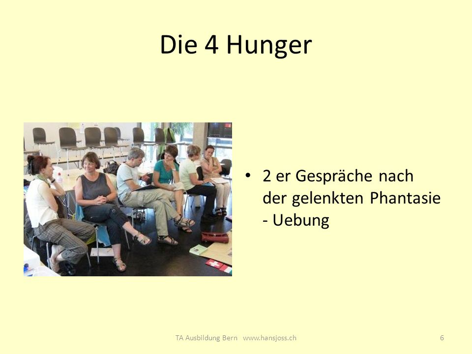 Die 4 Hunger 2 er Gespräche nach der gelenkten Phantasie - Uebung 6TA Ausbildung Bern www.hansjoss.ch
