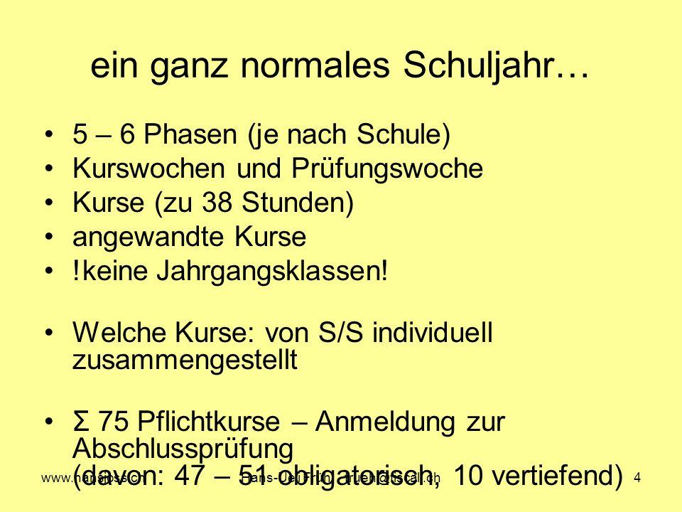 www.hansjoss.chHans-Ueli Früh frueh@tiscali.ch4 ein ganz normales Schuljahr… 5 – 6 Phasen (je nach Schule) Kurswochen und Prüfungswoche Kurse (zu 38 Stunden) angewandte Kurse !keine Jahrgangsklassen.
