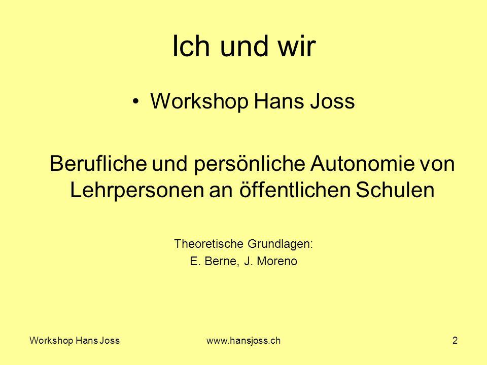Workshop Hans Josswww.hansjoss.ch13 Meine Vision, unsere Vision 6.