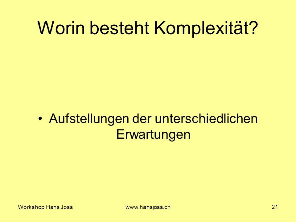 Workshop Hans Josswww.hansjoss.ch21 Worin besteht Komplexität.