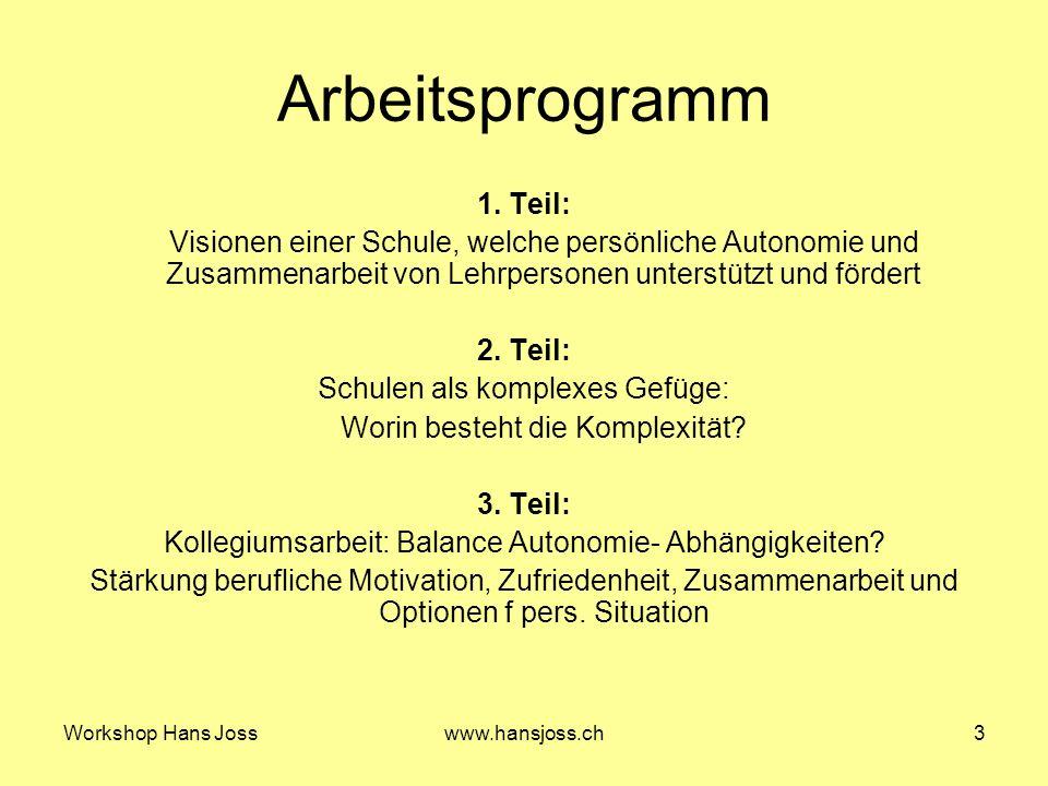 Workshop Hans Josswww.hansjoss.ch3 Arbeitsprogramm 1.