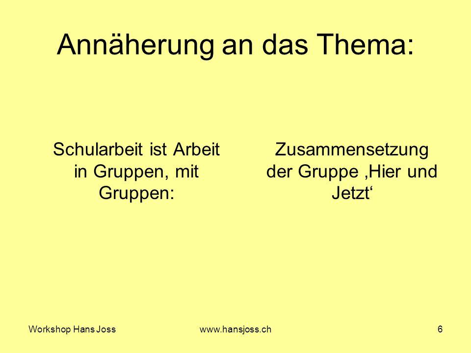 Workshop Hans Josswww.hansjoss.ch6 Annäherung an das Thema: Schularbeit ist Arbeit in Gruppen, mit Gruppen: Zusammensetzung der Gruppe Hier und Jetzt
