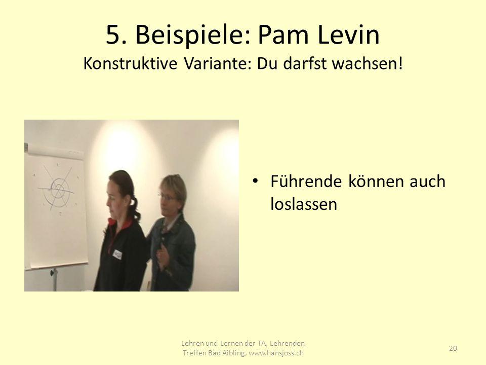 5.Beispiele: Pam Levin Konstruktive Variante: Du darfst wachsen.