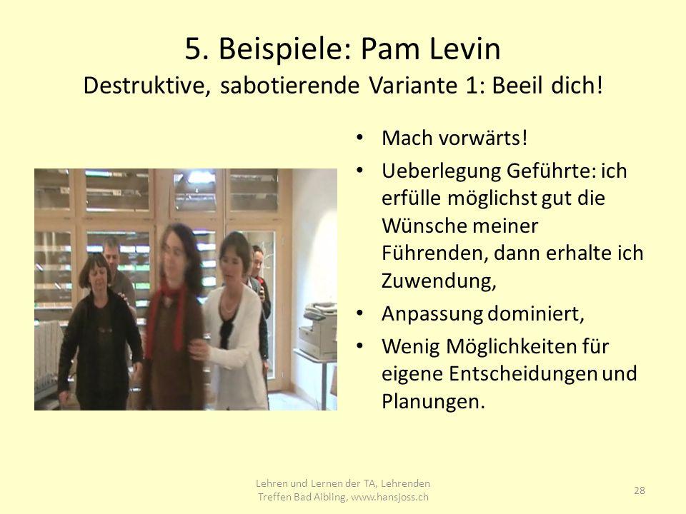5.Beispiele: Pam Levin Destruktive, sabotierende Variante 1: Beeil dich.
