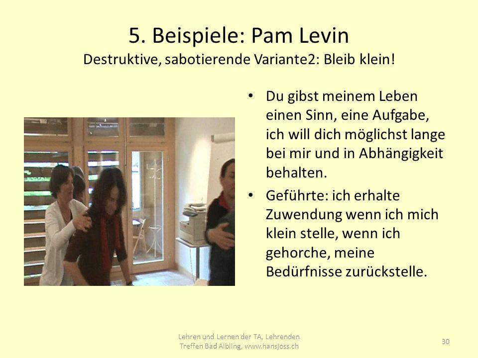 5.Beispiele: Pam Levin Destruktive, sabotierende Variante2: Bleib klein.