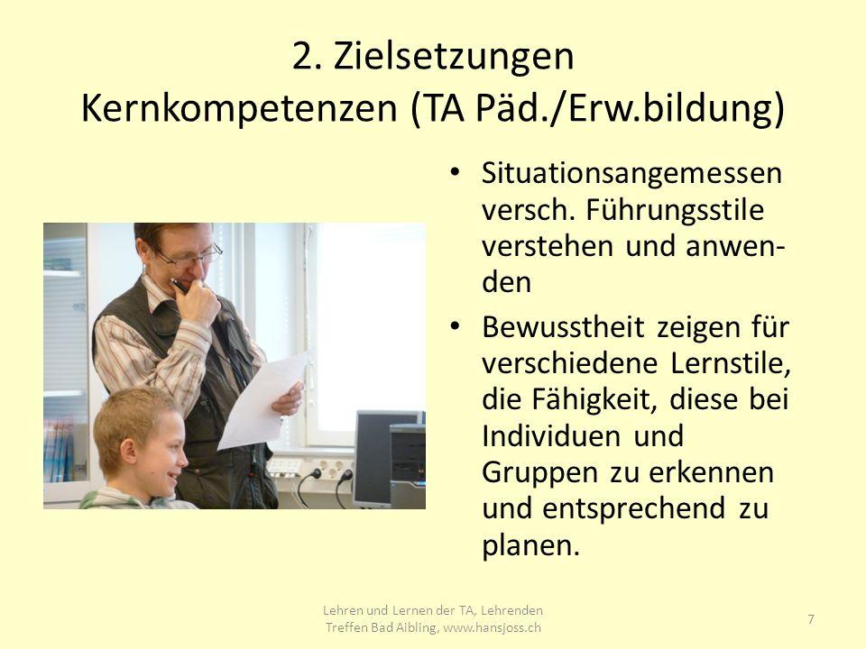 2.Zielsetzungen Kernkompetenzen (TA Päd./Erw.bildung) Situationsangemessen versch.