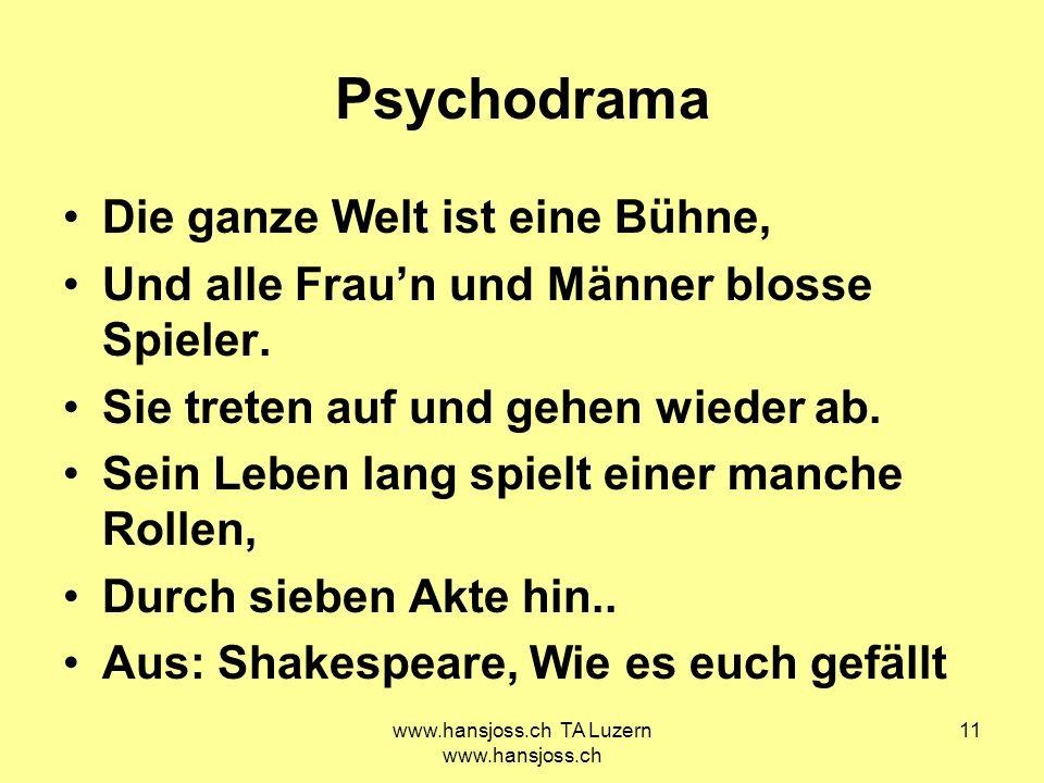 www.hansjoss.ch TA Luzern www.hansjoss.ch 11 Psychodrama Die ganze Welt ist eine Bühne, Und alle Fraun und Männer blosse Spieler. Sie treten auf und g