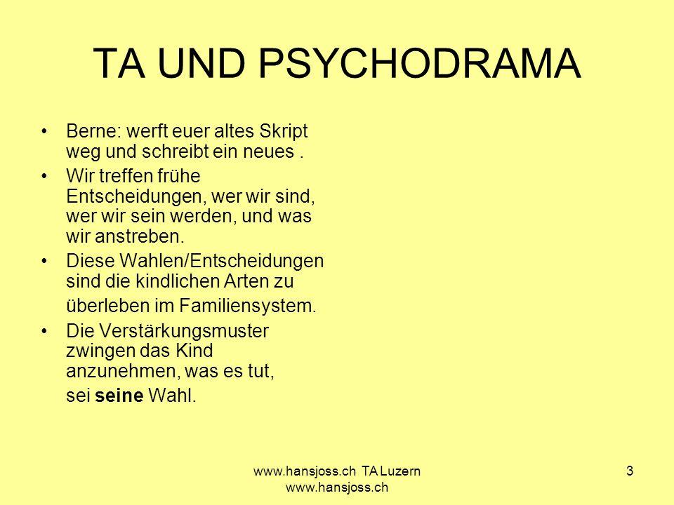www.hansjoss.ch TA Luzern www.hansjoss.ch 4 TA UND PSYCHODRAMA TA hilft, Vergangenheit zu demystifizieren, und frühe Programmierung zu ändern.