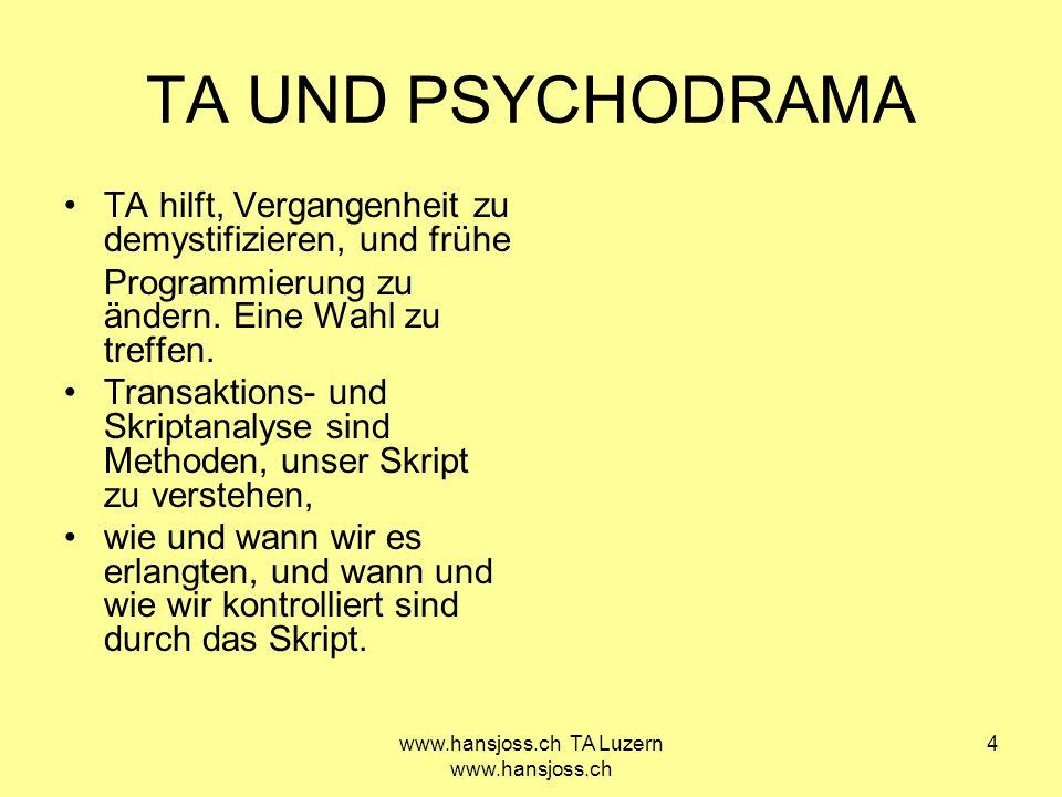www.hansjoss.ch TA Luzern www.hansjoss.ch 4 TA UND PSYCHODRAMA TA hilft, Vergangenheit zu demystifizieren, und frühe Programmierung zu ändern. Eine Wa