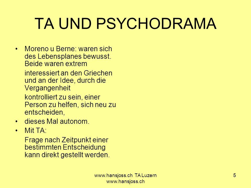 www.hansjoss.ch TA Luzern www.hansjoss.ch 6 Unterschied TA- Psychodrama zwischen sprechen über etwas -und sich erinnern, handeln und entwickeln .