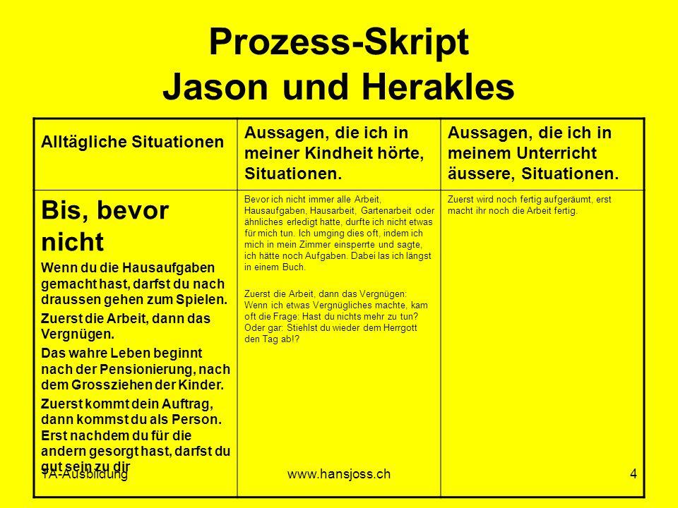 TA-Ausbildungwww.hansjoss.ch4 Prozess-Skript Jason und Herakles Alltägliche Situationen Aussagen, die ich in meiner Kindheit hörte, Situationen. Aussa