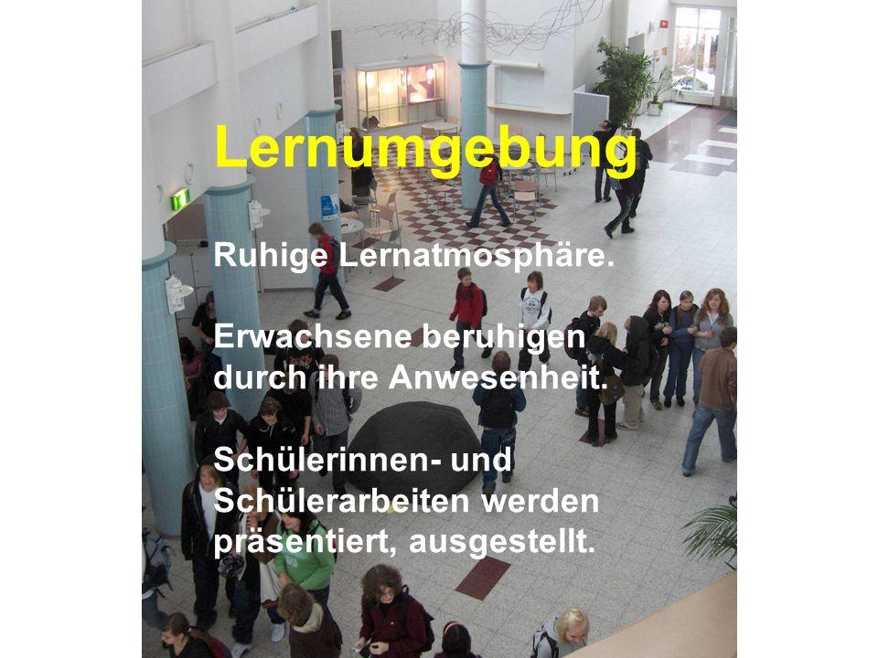 www.hansjoss.ch Lernumgebung Ruhige Lernatmosphäre. Erwachsene beruhigen durch ihre Anwesenheit. Schülerinnen- und Schülerarbeiten werden präsentiert,