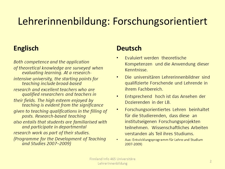 Lehrerinnenbildung: Forschungsorientiert Englisch Both competence and the application of theoretical knowledge are surveyed when evaluating learning.