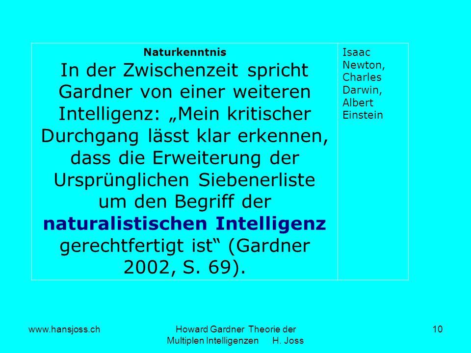 www.hansjoss.chHoward Gardner Theorie der Multiplen Intelligenzen H. Joss 10 Naturkenntnis In der Zwischenzeit spricht Gardner von einer weiteren Inte