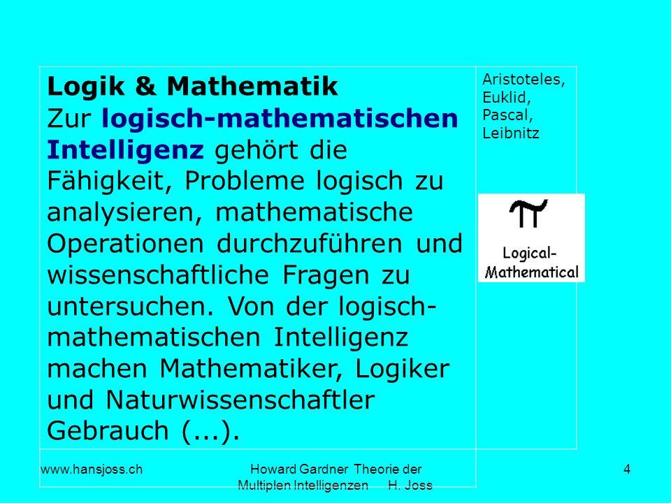 www.hansjoss.chHoward Gardner Theorie der Multiplen Intelligenzen H. Joss 4 Logik & Mathematik Zur logisch-mathematischen Intelligenz gehört die Fähig
