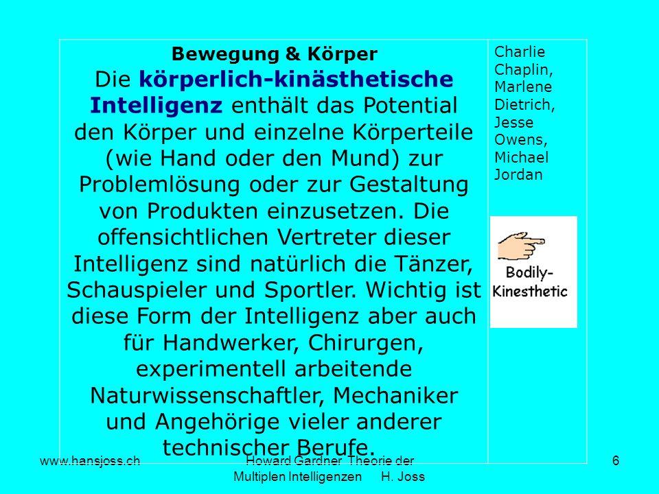 www.hansjoss.chHoward Gardner Theorie der Multiplen Intelligenzen H. Joss 6 Bewegung & Körper Die körperlich-kinästhetische Intelligenz enthält das Po