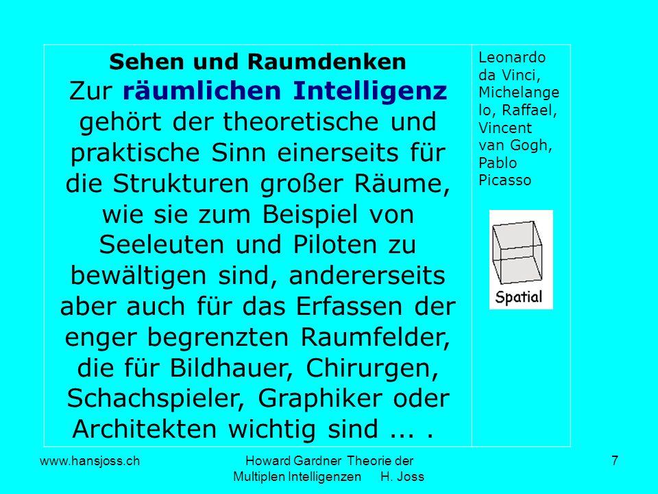 www.hansjoss.chHoward Gardner Theorie der Multiplen Intelligenzen H. Joss 7 Sehen und Raumdenken Zur räumlichen Intelligenz gehört der theoretische un