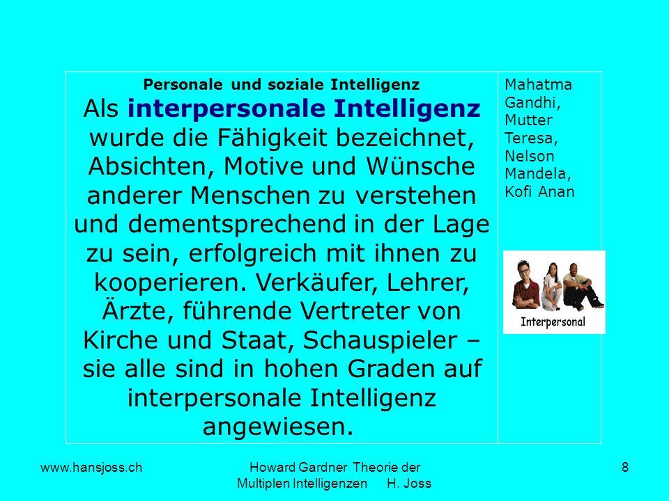 www.hansjoss.chHoward Gardner Theorie der Multiplen Intelligenzen H. Joss 8 Personale und soziale Intelligenz Als interpersonale Intelligenz wurde die