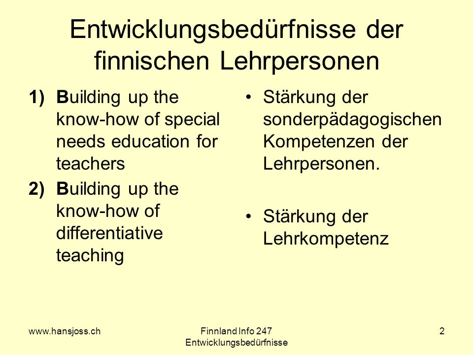 www.hansjoss.chFinnland Info 247 Entwicklungsbedürfnisse 2 Entwicklungsbedürfnisse der finnischen Lehrpersonen 1)Building up the know-how of special n