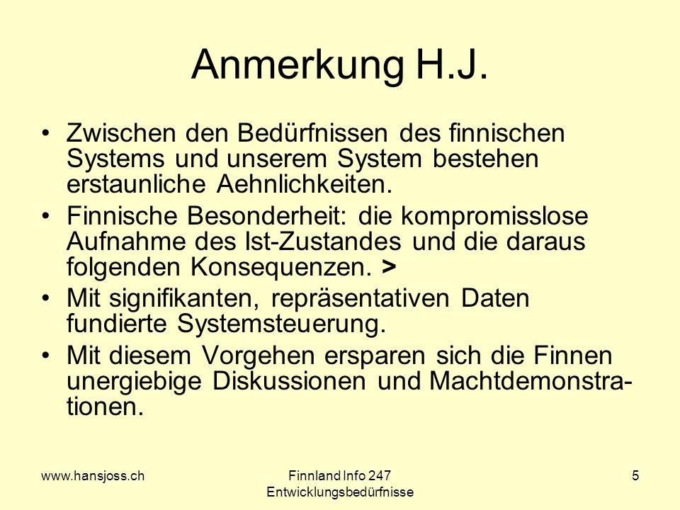 www.hansjoss.chFinnland Info 247 Entwicklungsbedürfnisse 5 Anmerkung H.J. Zwischen den Bedürfnissen des finnischen Systems und unserem System bestehen