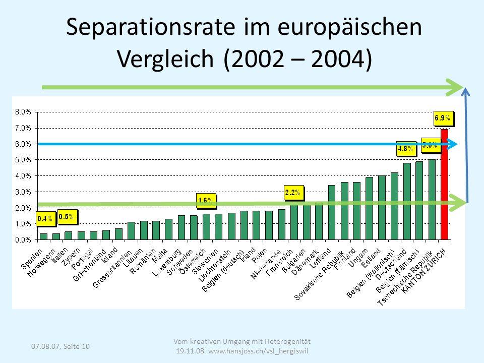 07.08.07, Seite 10 Separationsrate im europäischen Vergleich (2002 – 2004) Vom kreativen Umgang mit Heterogenität 19.11.08 www.hansjoss.ch/vsl_hergiswil