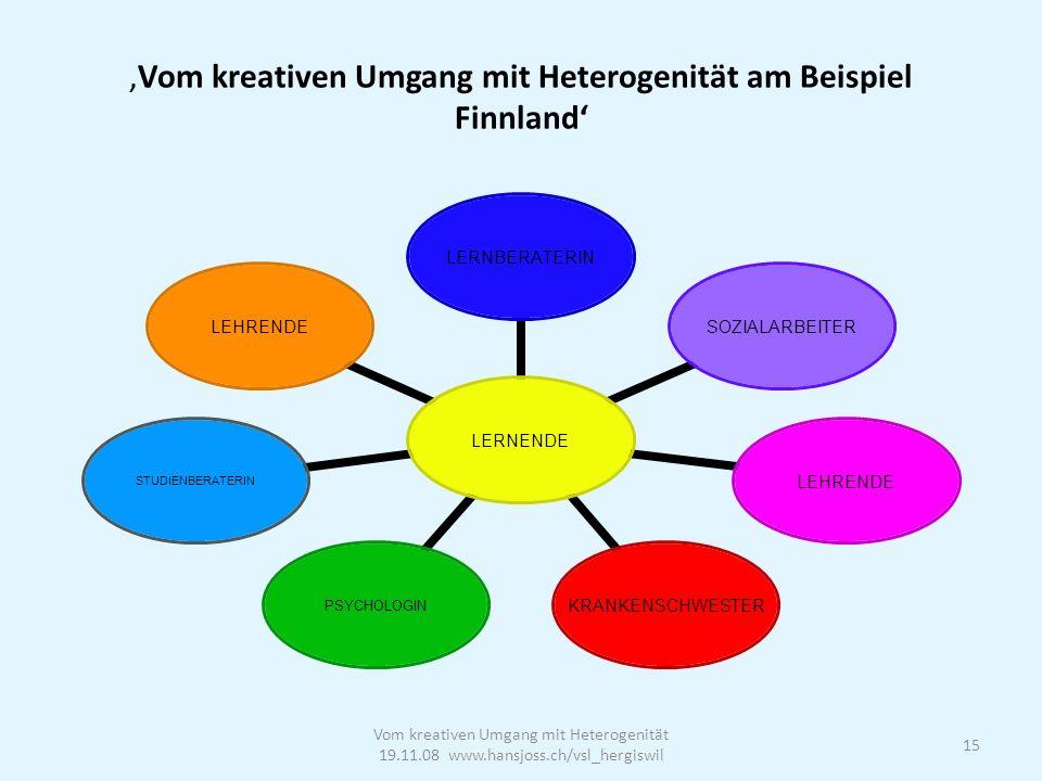 Vom kreativen Umgang mit Heterogenität am Beispiel Finnland Vom kreativen Umgang mit Heterogenität 19.11.08 www.hansjoss.ch/vsl_hergiswil 15 LERNENDE LERNBERATERINSOZIALARBEITERLEHRENDEKRANKENSCHWESTERPSYCHOLOGINSTUDIENBERATERINLEHRENDE